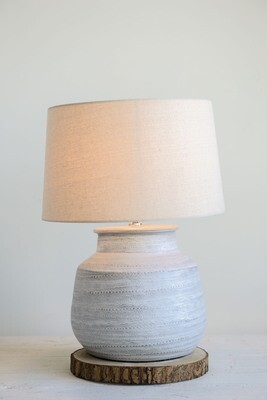 Ceramic Table Lamp, White w/ Natural Linen Shade