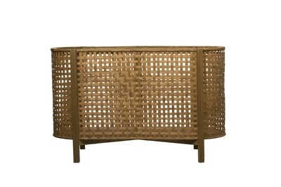 Woven Cane & Wood Footed Storage Container