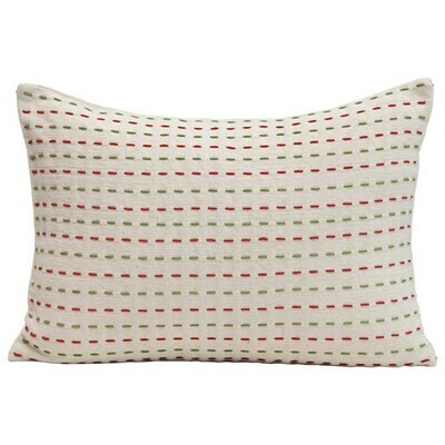 Woven Cotton Pillow w/ Kantha Stitch, Red, Green & Cream Color