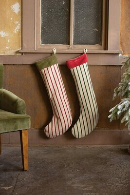 Giant Striped Christmas Stockings with Velvet Collar