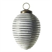 Ornament - White Oblong Spiral