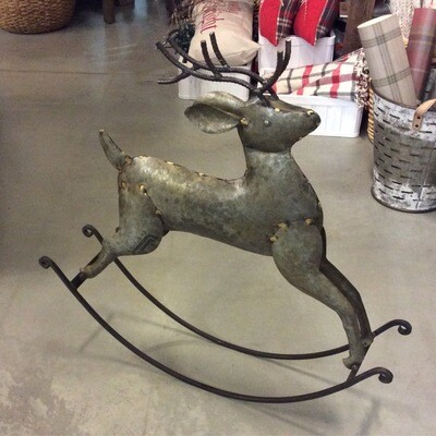 Rustic Zinc Rocking Deer