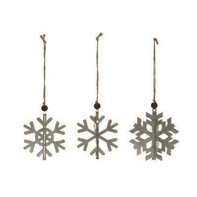 Metal 3D Snowflake Ornament