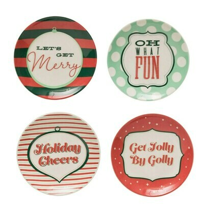 Stoneware Plate w/ Holiday Saying
