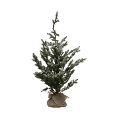 Faux Pine Tree w/ Burlap Base, Ice Finish