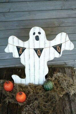 Painted Wooden Ghost with Boo Pennant