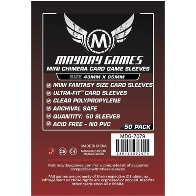 Mayday Games - Funda protectora para cartas Mini Chimera de 43mm x 65mm