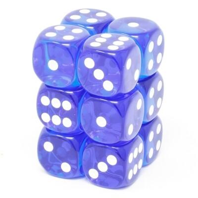 Chessex - Set de 12 dados D6 de 16mm translúcidos Azul/Blanco
