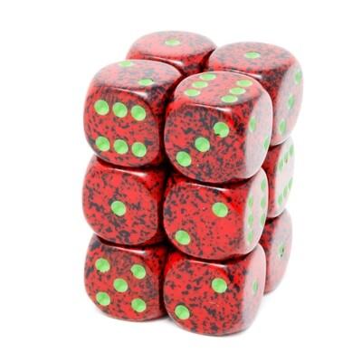 Chessex - Set de 12 dados D6 de 16mm moteados Strawberry™