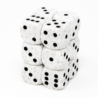 Chessex - Set de 12 dados D6 de 16mm moteados Artic Camo™