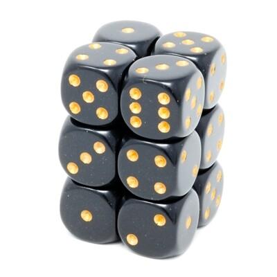 Chessex - Set de 12 dados D6 de 16mm opacos Negro/Dorado