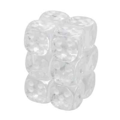 Chessex - Set de 12 dados D6 de 16mm translúcidos Transparente/Blanco