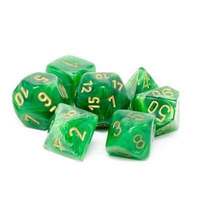 Chessex - Set de 7 dados poliédricos Vortex™  Verde/Dorado