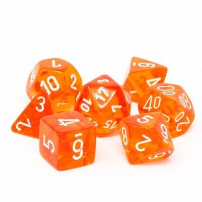 Chessex - Set de 7 dados poliédricos translúcidos Naranja/Blanco