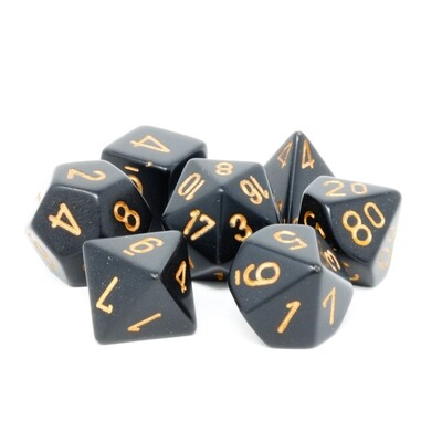 Chessex - Set de 7 dados poliédricos opacos Negro/Dorado