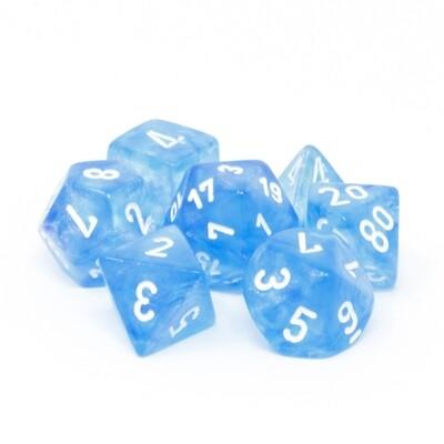 Chessex - Set de 7 dados poliédricos Borealis™ Azul cielo/Blanco