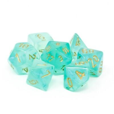 Chessex - Set de 7 dados poliédricos Borealis™ Verde claro/Dorado