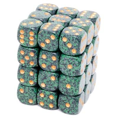 Chessex - Set de 36 dados D6 de 12mm moteados Golden Recon™