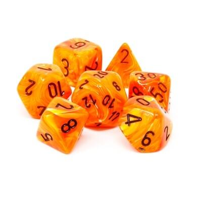 Chessex - Set de 7 dados poliédricos Vortex™  Naranja/Negro