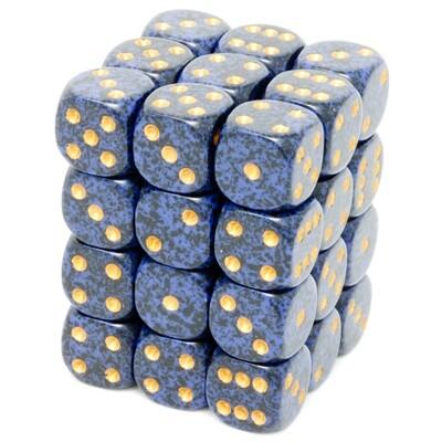 Chessex - Set de 36 dados D6 de 12mm moteados Golden Cobalt™