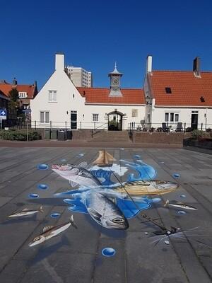 Vissen Street Art Festival Zandvoort - print op canvas
