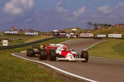 1985 Lauda & Senna - print op canvas