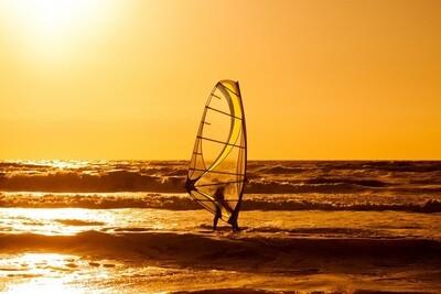 Surfing Sunset Zandvoort - print op canvas