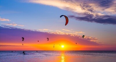 Kiting Sunset Zandvoort - print op canvas