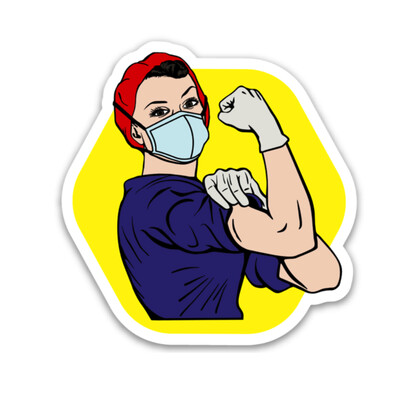 Rosie the Medical Professional Sticker- Red & Navy