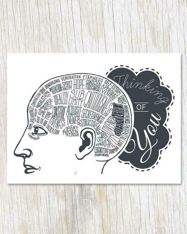 Thinking Of You: Phrenology Greeting Card