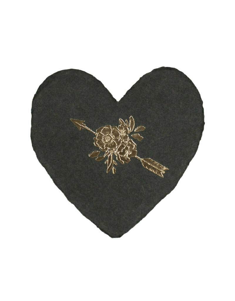 Arrow and Rose Foiled Handmade Petite Heart Card