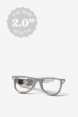 Eye Glasses Silver Tie Bar