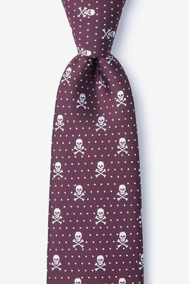 Skull and Polka Dot Tie (Burgundy)