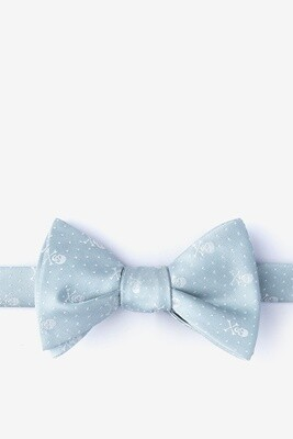Skull and Polka Dot Light Gray Bow Tie