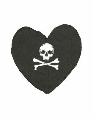 Skull and Crossbones Handmade Petite Heart Card