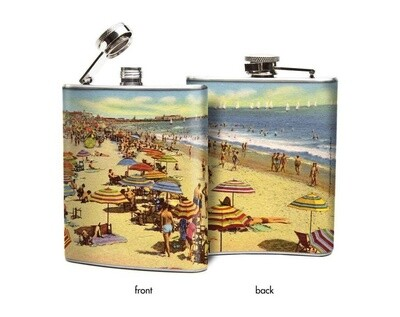 Vintage Beach Scene Hip Flask