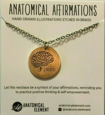 Anatomical Element CREATE Necklace - Etched Brass Brain