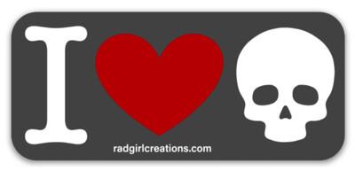 I Love Skulls Sticker