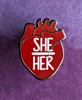 She/Her Pronouns Heart Pin