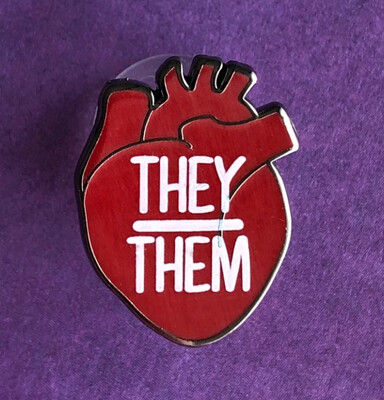 They/Them Pronouns Heart Pin