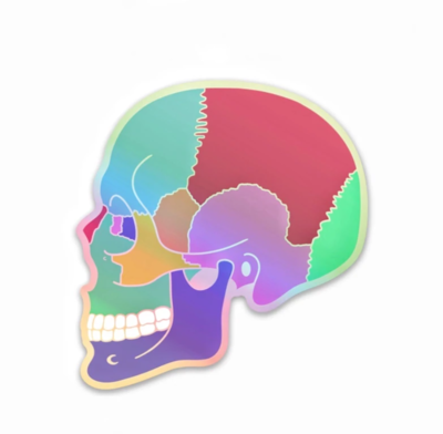 Textbook Anatomy Skull Holographic Sticker