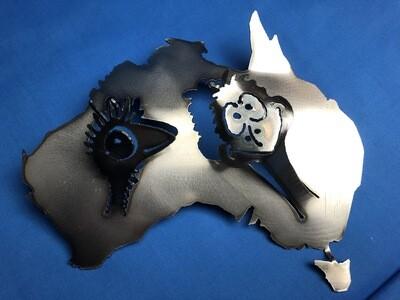 Australian Map with Emu heads