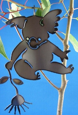 Koala holding gumflower Metal art