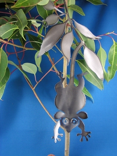 Pigmy possum with gumnut and leaves Metal art