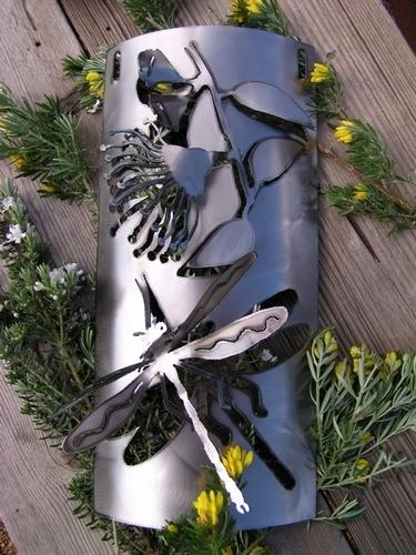 Dragonfly+gumflower wall hanging Metal art