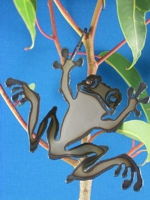 Smiley frog with hook Metal art