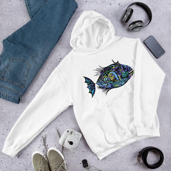 Cozy Hooded Sweatshirt-Piranha