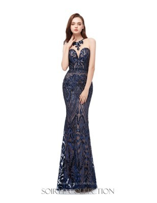 BLUE SWEETHEART SEQUINED DRESS WITH ILLUSION BODICE