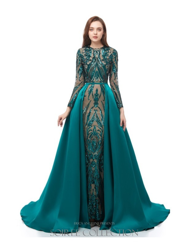 EMERALD SEQUINED DRESS WITH REMOVABLE OVERSKIRT