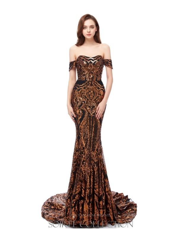 COPPER GOLD OFF SHOULDER SEQUINED DRESS